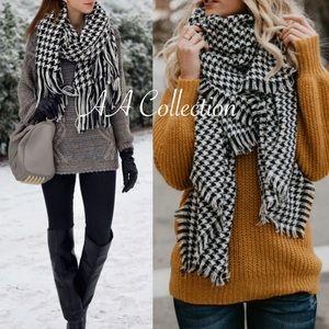Accessories - Oversized Tassel houndstooth blanket scarf wrap